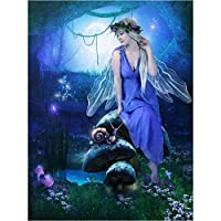 Yiyai 5DDIYダイヤモンド刺繡妖精とカタツムリ3Dダイヤモンド絵画クロスステッチの風景針仕事家の装飾フルラウンドドリルラウンド40x50