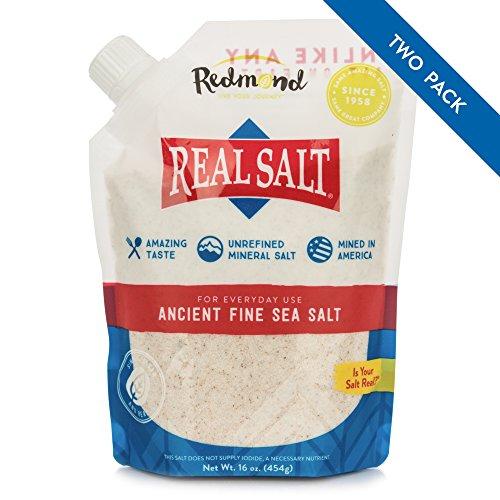 Redmond Real Salt - Ancient Fine Sea Salt, Unrefined Mineral Salt, 16 Ounce Pouch (2 Pack)