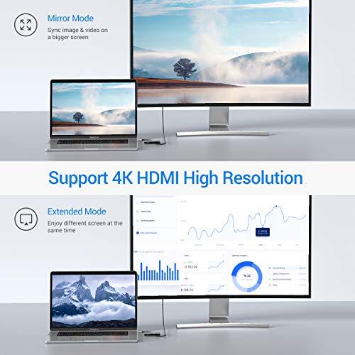 USB C HDMI Adapter 3 in 1, USB-C Multiport Adapter, Typ-C zu HDMI Adapter 4K, USB 3.0, 100W Lade Digital-AV Adapter HUB Kompatibel mit MacBook, Pad Pro, Chromebook Pixel, Samsung Galaxy S8/S9 Plus