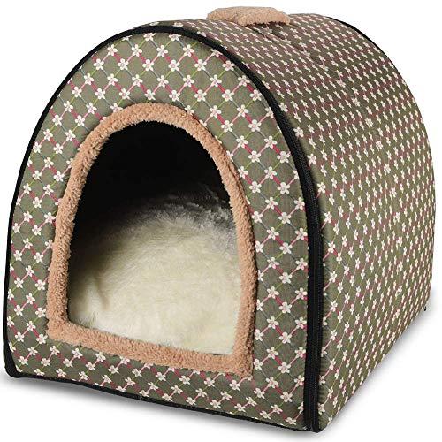 Qazxsw Cama para Perros, 2 en 1 Casa para Perros Perrera Plegable Lavable Gato Cueva Cama Antideslizante Suave y cálida Sofá para Cachorros Gatito Nido con cojín Desmontable