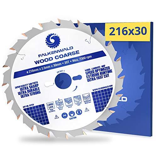 FALKENWALD® Kreissägeblatt 216x30 mm für Holz mit 20 Hartmetallzähnen (grob) - Kappsägeblatt zum besonders schnellen Arbeiten - kompatibel mit Metabo, Bosch & vielen weiteren Marken