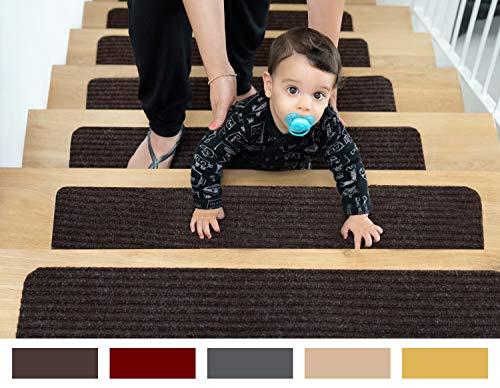 EdenProducts Patent Pending Non Slip Carpet Stair Treads, Set of 15, Rug Non Skid Runner for Grip...