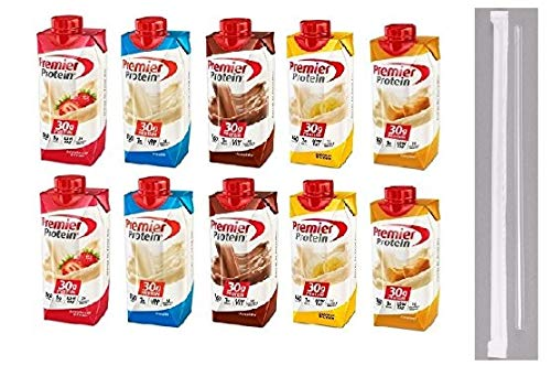 Premier Protein Shakes Drinks  Low Carb High Protein Shakes Variety 10 Pack 30g | 2 of Each Flavor  Chocolate Strawberry Vanilla Banana amp Caramel | Bonus of 10 Individually Wrapped Straws
