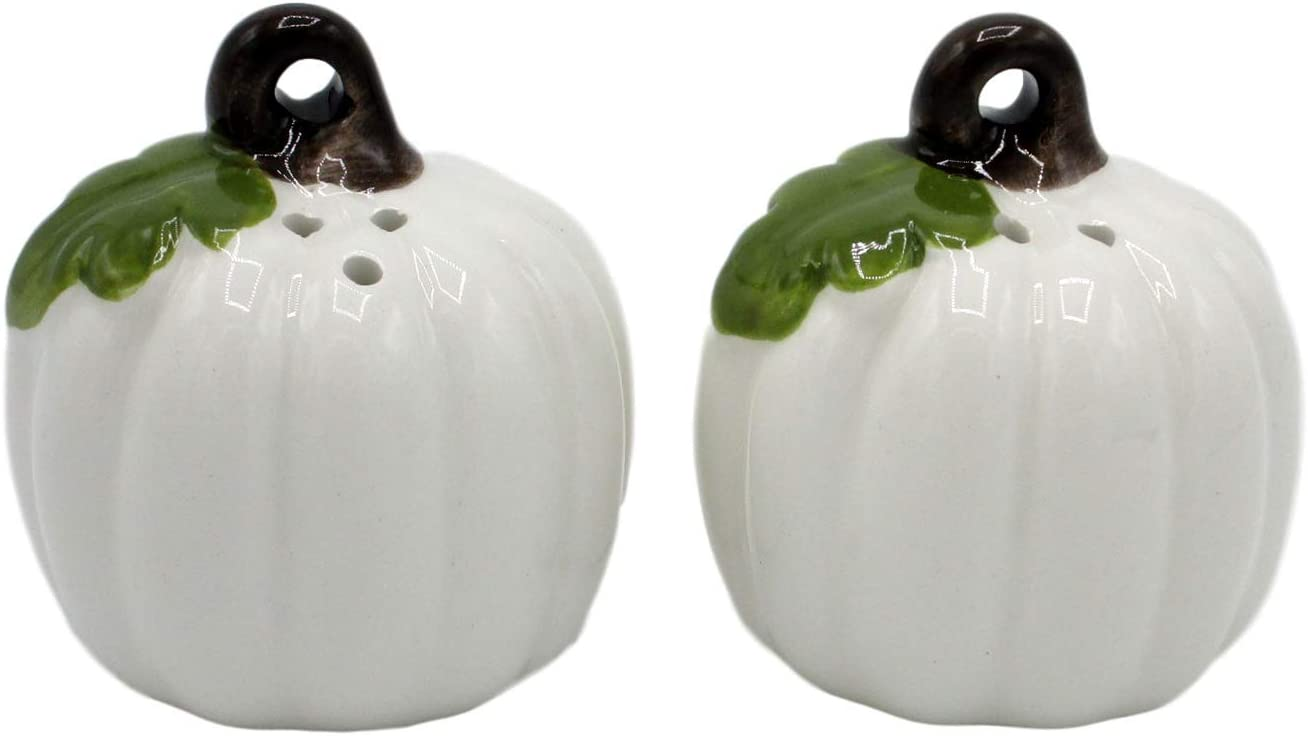 2 White Pumpkins White and Orange Pumpkins Ceramic Salt and Pepper Shakers