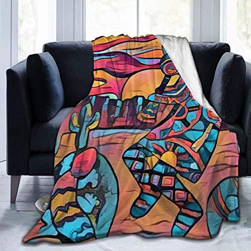 KNBNDB Arizona Art Kokopelli Flauta Azteca Divertida temática Impresa Forro de Franela Ultra Suave para Toda la Temporada Mantener la decoración cálida Habitación Manta cálida de Tiro 80x60 Pulgadas