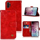 Galaxy Note 10 Plus 5G Case, Zoeirc PU Leather Wallet Flip Folio Protective Phone Case Cover with Card Slots and Stand for Samsung Galaxy Note 10+ Plus/ Note10 Plus 5G 2019 (red)