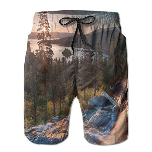Wearibear Alpine Lake Tahoe in Kalifornien Badehose Herren schnelltrocknend kurz atmungsaktiv Badeanzug für Sportbekleidung Gr. XL, Schwarz