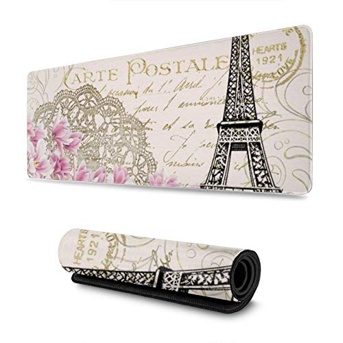 Vintage Paris Tower and Pink Flower Gaming Mouse Pad, Long Extended XL Mousepad Desk Pad, Large Non Slip Rubber Mice Pads Stitched Edges, 31.5'' X 11.8''