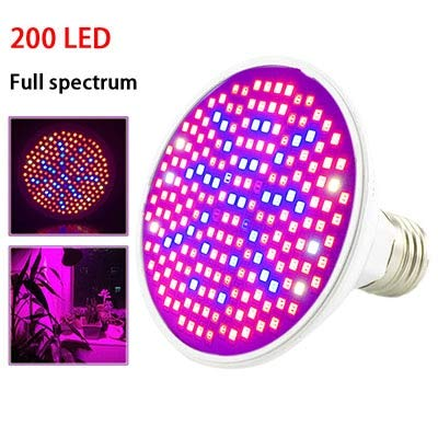 XiaoOu Plant lamp 36 200 290 LED Plant Grow Light bulb Full Spectrum phyto Growing Lamp Clip For Indoor room tent Flower Seeds veg Greenhouse,200 LED Upgrade,E27 bulb only