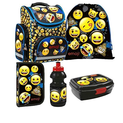 Emoji Smily Smile 5 Teile Schulranzen Ranzen Federmappe Tornister Set Tasche mit Sticker von Kids4shop