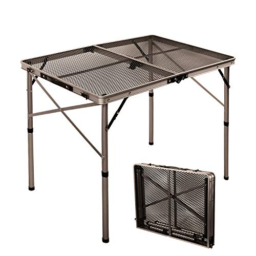 RedSwing Portable Grill Table for Outside, Aluminum Folding Grill Stand Table for Outdoor Camping Picnic BBQ, Lightweight Adjustable Height, 36''x24''x15''/28'', Champagne