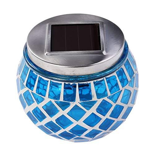 Uonlytech Luces de Bola de Vidrio de Mosaico Solar Lámpara de Mosaico de Vidrio de Cristal Que Cambia de Color Lámpara de Mesa Solar para Jardín 1 Color Aleatorio