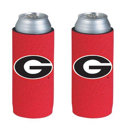College Team Logo Logo Ultra Slim 12oz Beer Can Holder Insulator Coolers - 2-Pack (Georgia) Bulldogs)