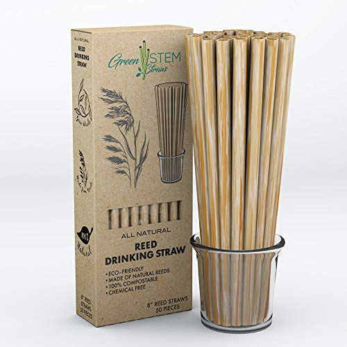 Green Stem Plant Based Drinking Straws, All Natural, Biodegradable, Eco-Friendly, Disposable 7mm Wide Reed Straws, Green, Chemical Free, Alternative to Plastic Straws, 8', 50 Pack