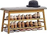 Zapatería Zapatero multifuncional con asiento acolchado, Organizador de estantes for zapatos de madera de la moderna simplicidad y la madera contrachapada, Banco de Cambio de pasillo Zapatos Caja de z