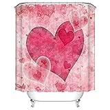 N/ Pink Love Heart Valentines Set de Cortinas de baño Cortinas de baño de poliéster 183X183CM