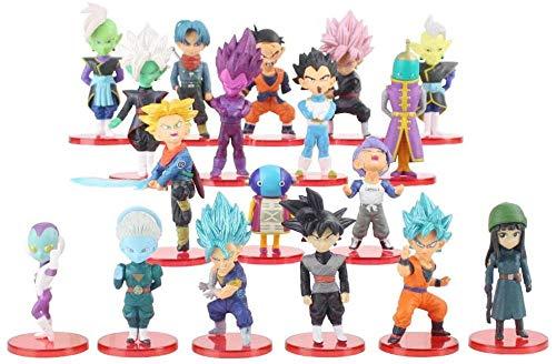 Yooped 18pcs / Set Dragon Ball Super Jouets Fils Goku/Gohan/Zen O/Jaco/Malles/MAI/Zamasu/Grand Prêtre/Figurines à Collectionner en PVC Vegeta