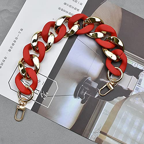 Cadena para bolso de mujer, correa de hombro con asa superior, cadena de rayas para teléfono móvil, cadena de cadena de bolsa (color: goma roja, tamaño: 30 cm)