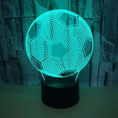 GUOSHUCHE Luz de la noche Fútbol LED Colorido Degradado 3D Estéreo Lámpara de Mesa Táctil Remoto USB Luz de Noche Escritorio Decoración Creativa Regalo Decoración Simple Romántico