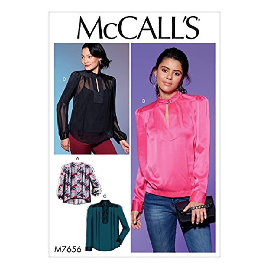 McCall's Patterns M7656A50 Misses' Tops with Neck Button/Yoke/Pleats and Sleeve Variations