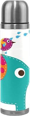 漫画象の鳥サーモス スポーツ ウォーター ボトル ステンレス鋼 絶縁 真空 水筒フラスコ レザー ラップ