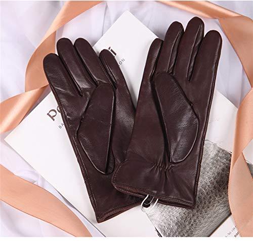 SSN Moda Brown Cuero Genuino Guantes For Mujer Diseño De La Marca Forro De Cachemira Guantes Térmicos Guante De Conducción Alta Gama (Color : Marrón, Size : Small)
