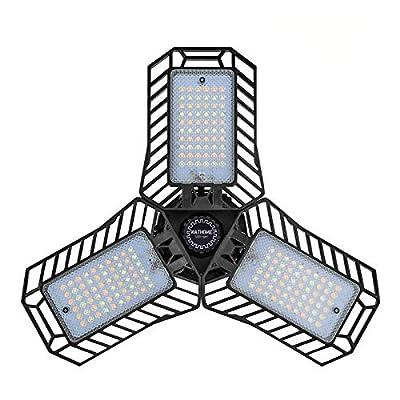 NATHOME led Garage Light,180 LEDs 3 Color Option(60W Equivalent) Garage Lighting,AC110V/Aluminum Cooling system/deformable leaf garage light, indoor use Shop Lights,Workshop Light (35W no-sensor)