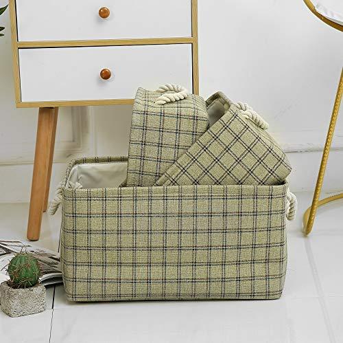 Caja de almacenamiento de tela, canasta de almacenamiento plegable para bebés con asas de cuerda para ropa, estante, armario, juguetes, cajas de almacenamiento de oficina (Green, 41x32x20 cm)