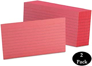 1InTheOffice Ruled Index Cards 3x5, Cherry red, 200/Cards