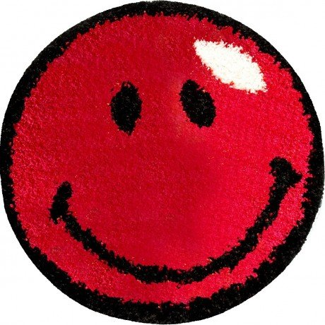 Smiley Face Soft Non Fading 26.4 Inches Round Red Area Rug
