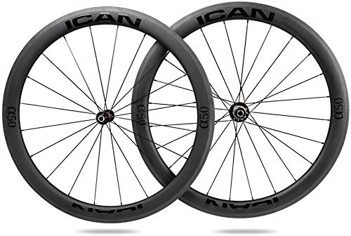 TRIAERO Alpha 50 Carbon Road Bike Wheelset Clincher Tubeless Ready Rim Novatec A291SB-SL / F482SB-SL Hub Pillar 1423 Radios 20/24 agujeros