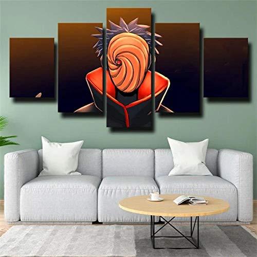 BHJIO 5 Piezas Cuadro sobre Lienzo Imagen Mscara De Narut Akatsuki Obito Uchiha Impresin Pinturas Murales Decor Fotos para Salon Dormitorio Bao Comedor Regalo 80X150Cm