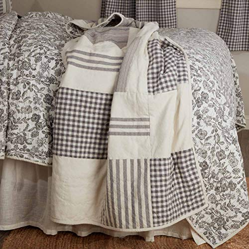 Grain Sack and Ticking Stripes 60 x 50 Gingham Checks Gray Gables Patchwork Quilted Throw Blanket Reversible to Floral Print Gray and Soft White Vintage Farmhouse Bedding