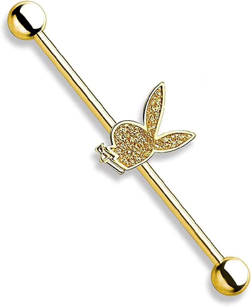 Pierced Owl 14GA Sand Blasted Sparkling Officially Licensed Playboy Bunny Centered 316L Surgical Stainless Steel Industrial Barbell