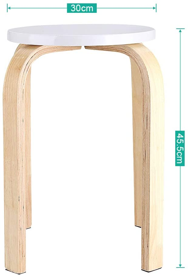 Greensen 45.5 x 40cm Sgabello in Legno Sgabello in Legno curvato Antiscivolo Bianco Sgabello in Legno curvato Sgabello per Bambini Sgabello Domestico