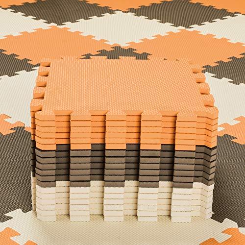 qqpp Alfombra Puzzle para Niños Bebe Infantil - Suelo de Goma EVA Suave. 18 Piezas (30*30*1cm), Naranja,Marrón,Beige. QQC-BFJb18N