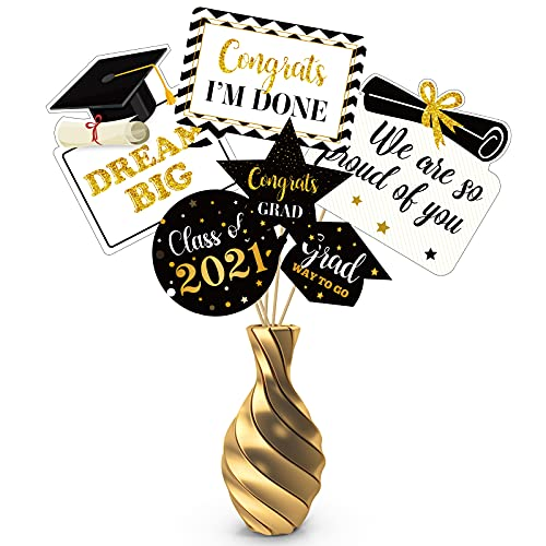 30PCS Graduation Decorations Centerpieces Table Topper – Congrats Grad Party Supplies 2021 Photo Booth Props
