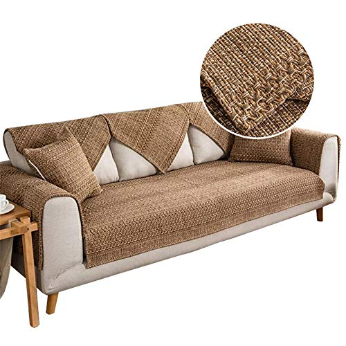 Funda antisuciedad para decoración de Sala de Estar,cojín para sofá,Funda seccional para sofá,Fundas Protectoras para sofá en Forma de l,Funda para sofá de Esquina,café,70x240cm