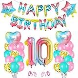 O-Kinee Cumpleaños Globos 10, Decoración de cumpleaños 10 en Rosa, 10er Cumpleaños Globos, Feliz cumpleaños Decoración Globos 10 Años, Globos Numeros para Cumpleaños Fiesta Decoración