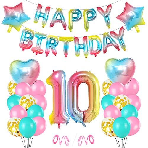 Cumpleaños Globos 10, Decoración de cumpleaños 10 en Rosa, 10er Cumpleaños Globos, Feliz cumpleaños Decoración Globos 10 Años, Globos Numeros para Cumpleaños Fiesta Decoración