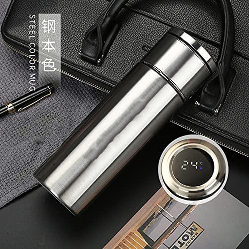 Taza De Viaje, Termo Taza 400ML Pantalla LED Táctil Inteligente con Botellas Termica Reutilizable Inoxidable Forel Hogar, La Oficina, El Deporte Frascos Térmicos para Deporte