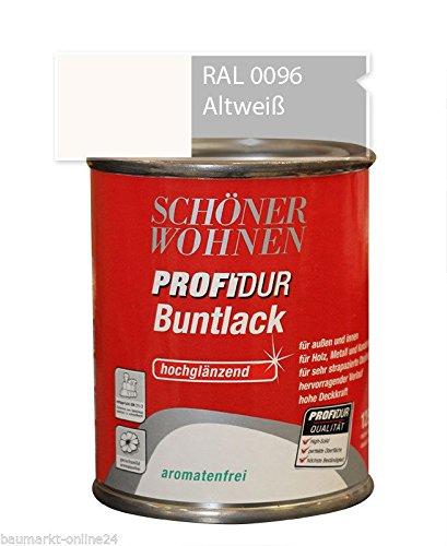 Profidur 125 ml Buntlack RAL 0096 Altweiß Hochglänzend Schöner Wohnen
