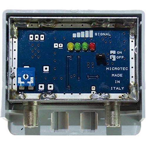 Amplificatore Schermato con Misuratore di segnale, 1 ing. log +30 dB regolabile - connettori F - LTE