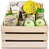 Bath Spa Gift Sets - Luxury Basket With Green Tea & Lemongrass - Spa Kit Includes Wash, Bubble Bath, Lotion, Bath Salts, Body Scrub, Body Spray, Shower Puff, Bathbombs, Soap and Towel, Deluxe
