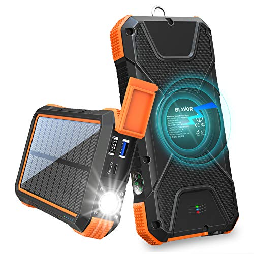 BLAVOR Solar Charger Power Bank 18W, QC 3.0 Portable Wireless Charger...