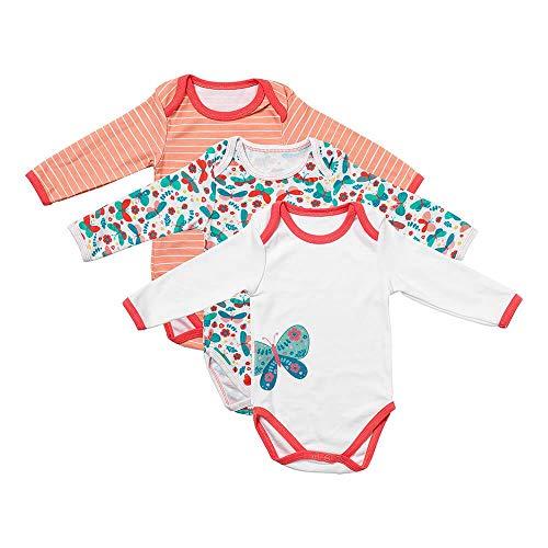 Schlummersack Baby body met lange mouwen voor meisjes en jongens van 100% katoen in 3-pack in verschillende maten 86 Schmetterliing