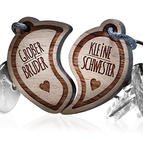 """schenkYOU Schlüsselanhänger aus Holz - personalisierte Geschenkidee für Geschwister - Gravur """"Großer Bruder - Kleine Schwester"""""""