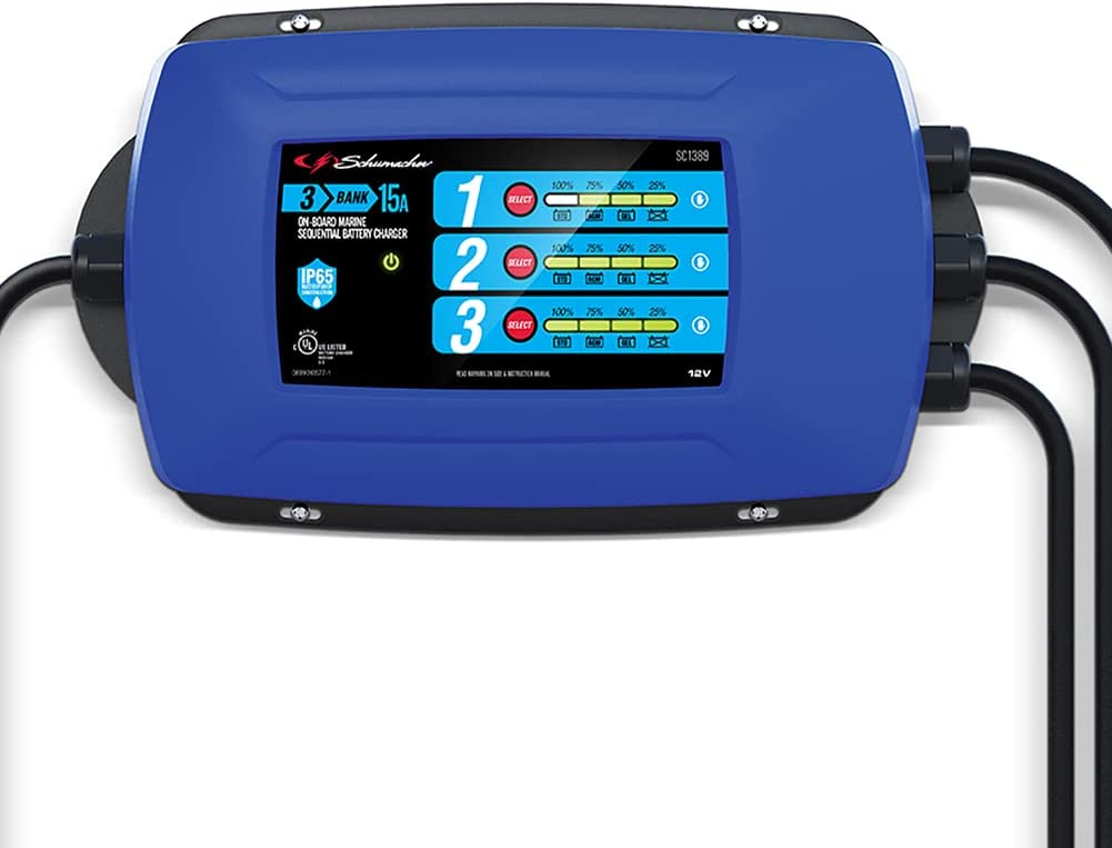 Schumacher-SC1389 Fully Automatic Direct-Mount 3-Battery Charger and Maintainer - 15 Amp, 12V - for Marine Batteries