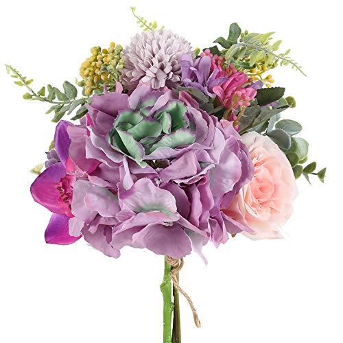 HUAESIN Ramo Novia Flores Artificiales Decoracion Purpura con Rosa Hortensia y Hoja de Eucalipto Bouquet Flores Artificiales para Boda Iglesia Mesa Hogar Fiesta Balcon Escaparate Jardinera Jarrones