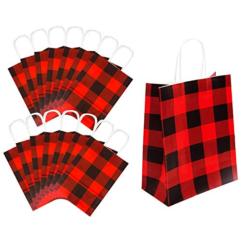 Iceyyyy 15Pieces Red and Black Buffalo Plaid Kraft Bags Paper Gift Bag with Handle for Christmas, Party, Wedding